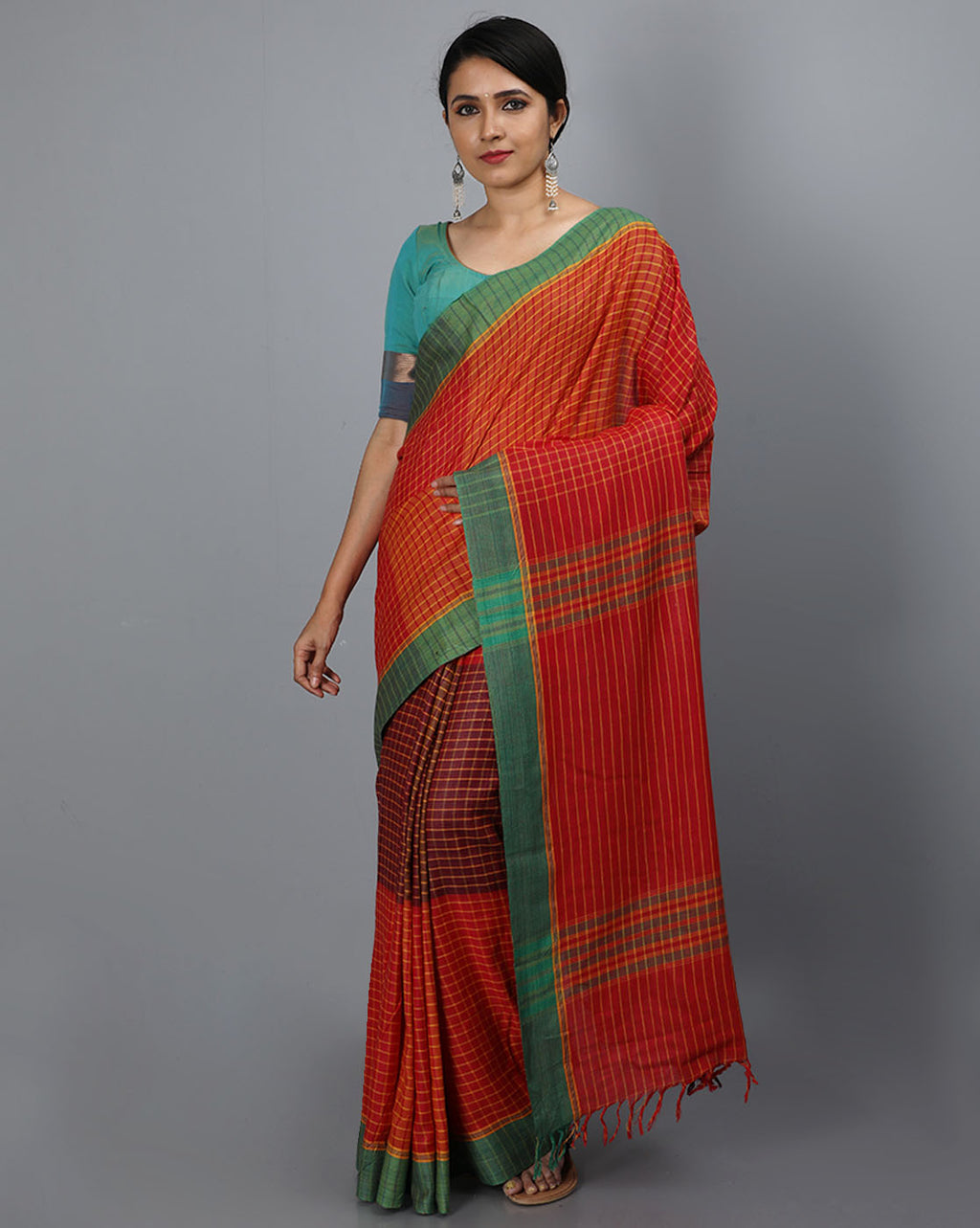Bihar Gamcha Cotton Saree - Red and Yellow Checks