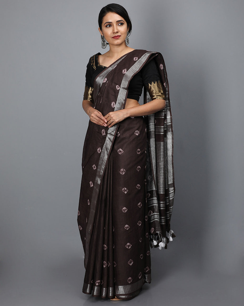 Bhagalpur Slub Bandhni Saree - Dark Brown