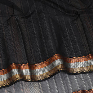 Maheshwari Saree with Trimetal Border - Black