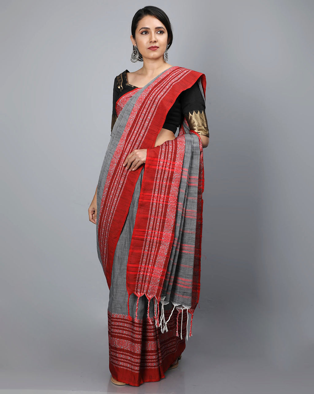 Phulia Cotton Saree with Thick and Thin Floral Border - Charcoal Grey/Red