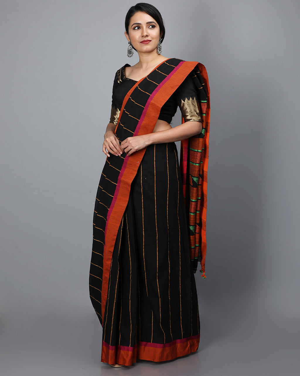 Phulia Cotton with Vertical Stripes Thread Embroidery - Black