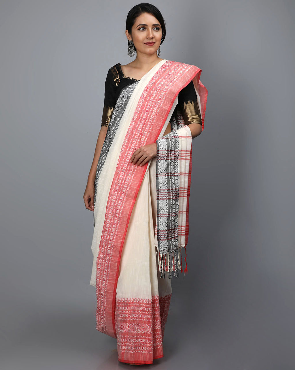 Phulia Cotton Saree with Thick and Thin Floral Border - Offwhite/Red & Black