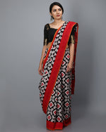 Telia Motif- Double Ikat (Cotton) - Black and Red Square Motif