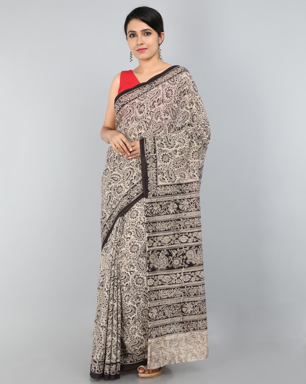Pedana Kalamkari - Hand Block Printed - Mul Cotton Saree 04