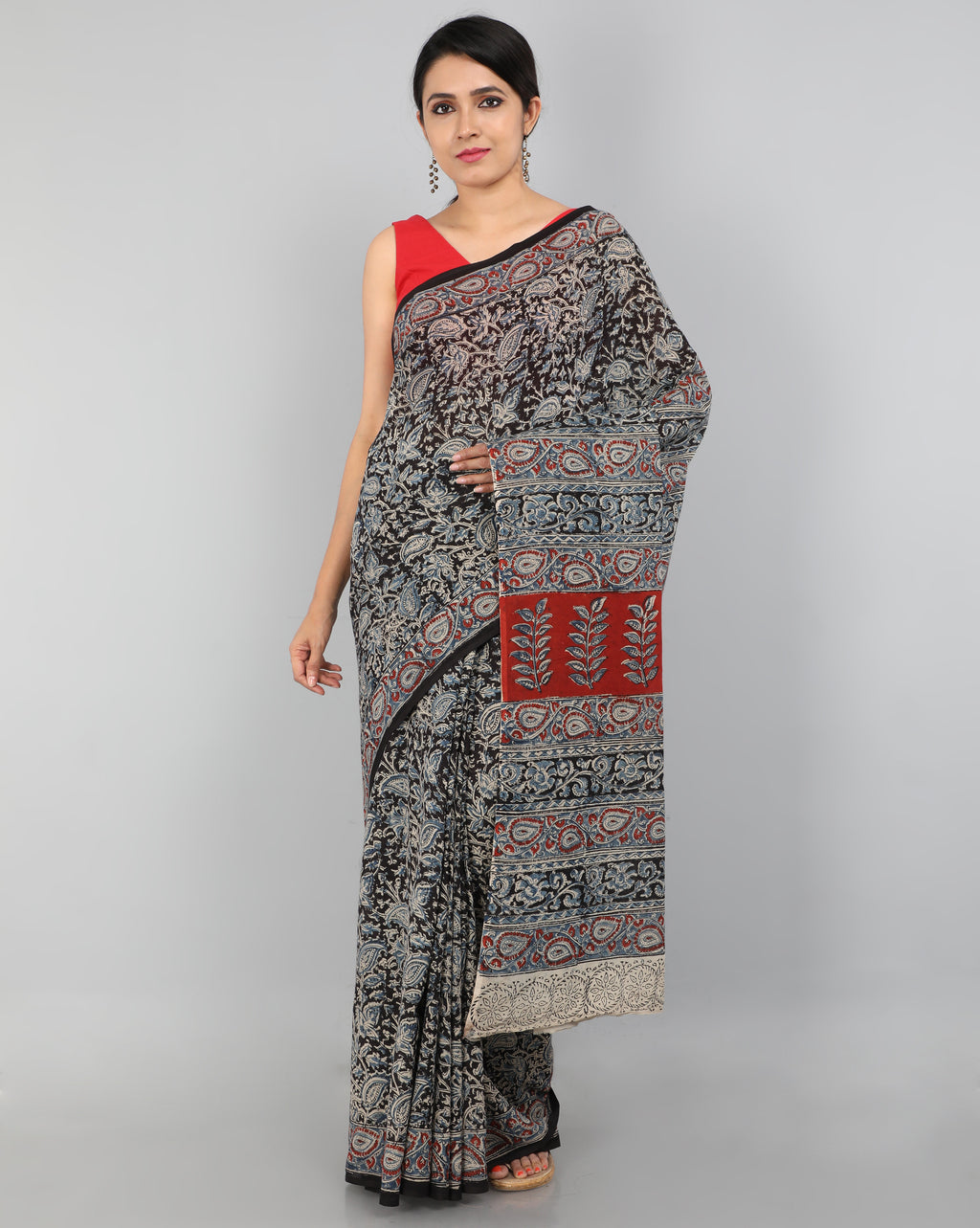 Pedana Kalamkari - Hand Block Printed - Mul Cotton Saree 07