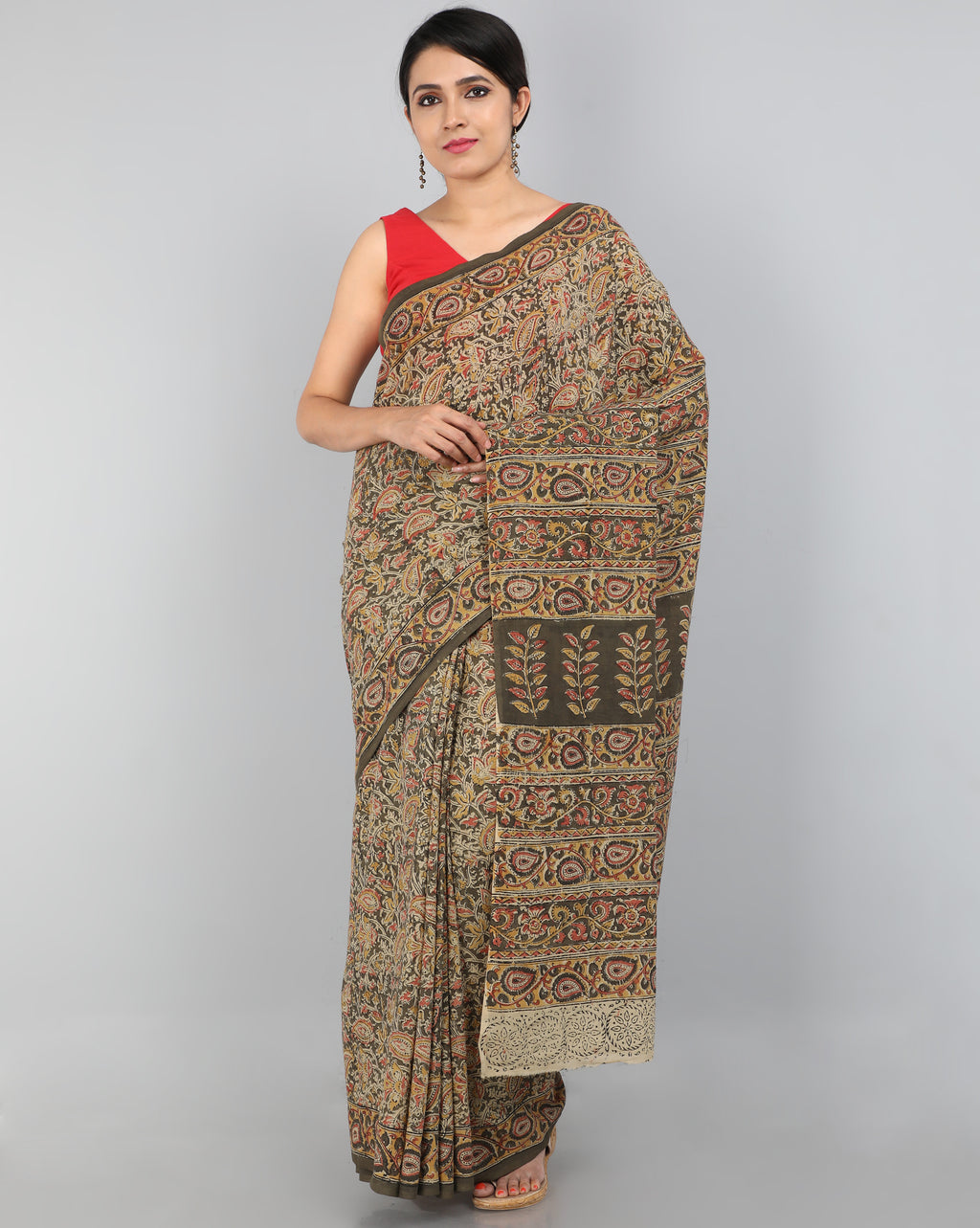 Pedana Kalamkari - Hand Block Printed - Mul Cotton Saree 09
