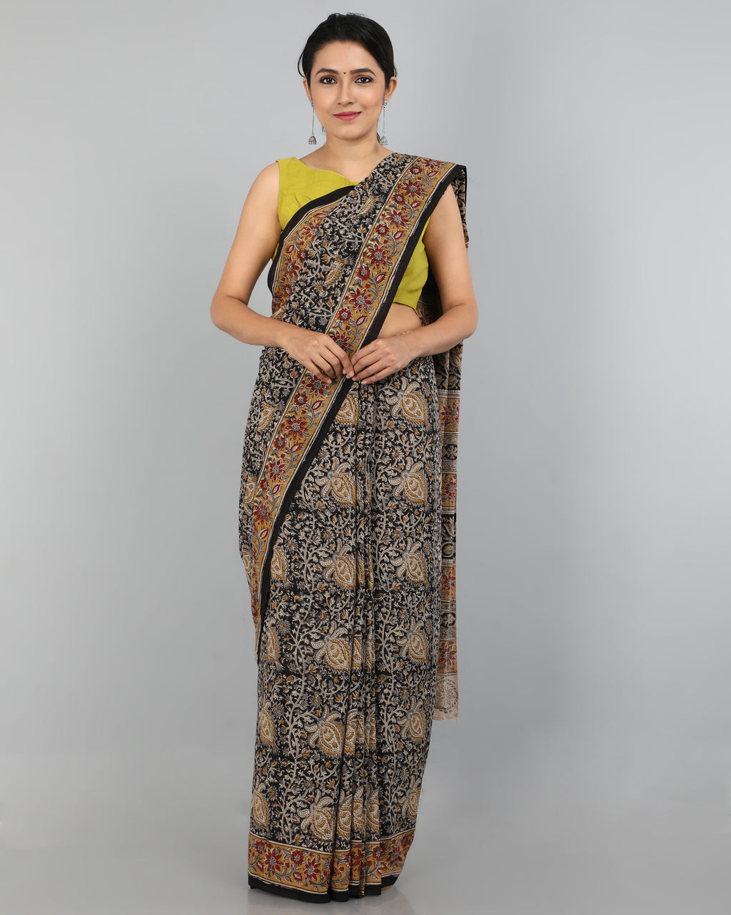 Pedana Kalamkari - Hand Block Printed - Mul Cotton Saree 05