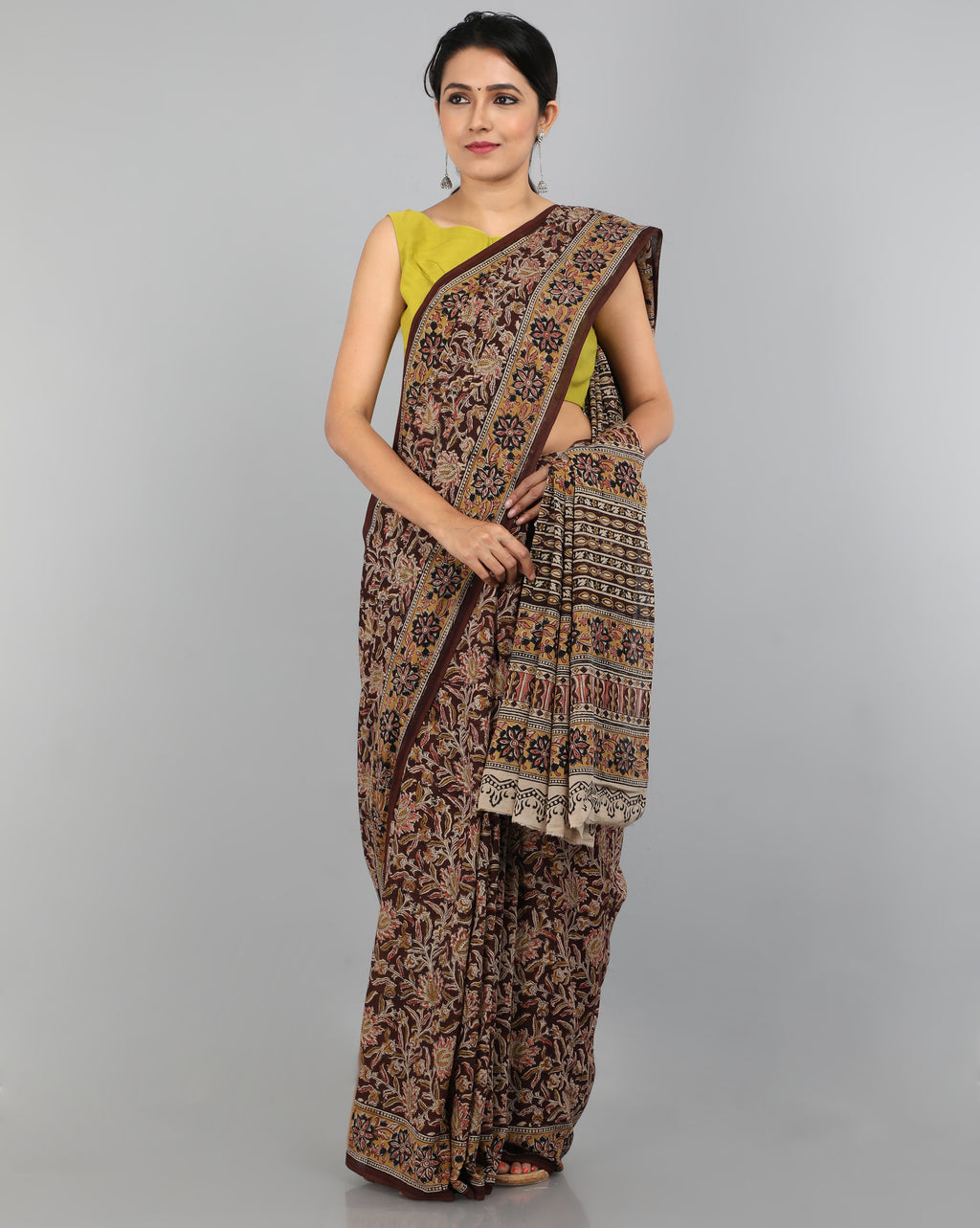 Pedana Kalamkari - Hand Block Printed - Mul Cotton Saree 08