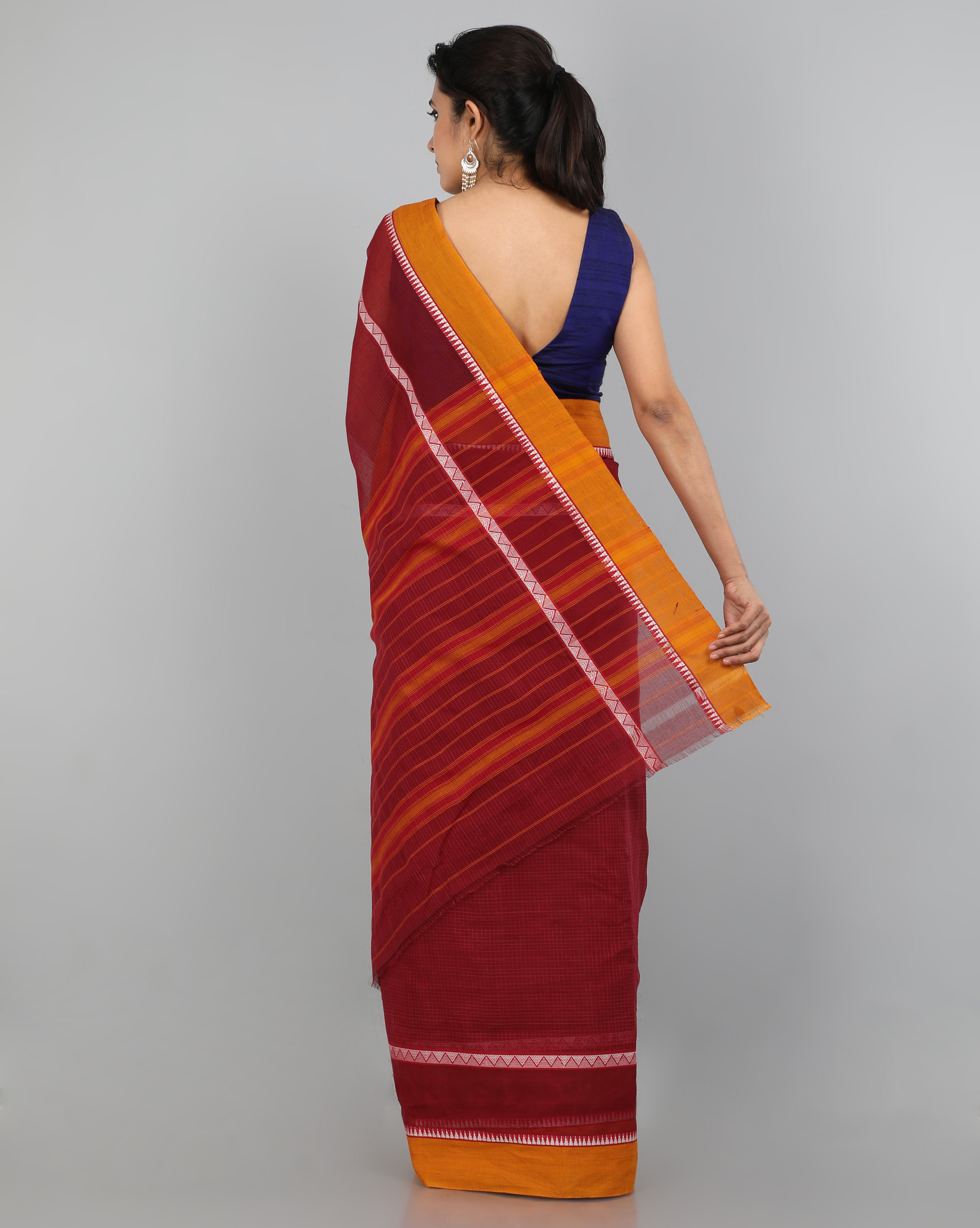 Narayanapet Cotton Saree - Maroon