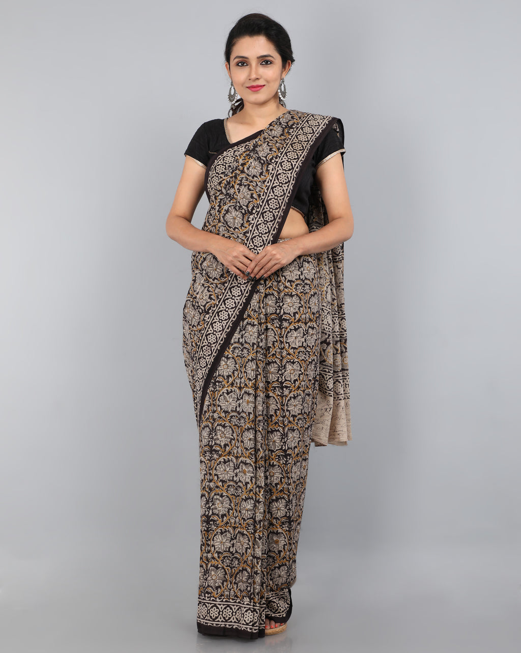 Pedana Kalamkari - Hand Block Printed - Mul Cotton Saree 11