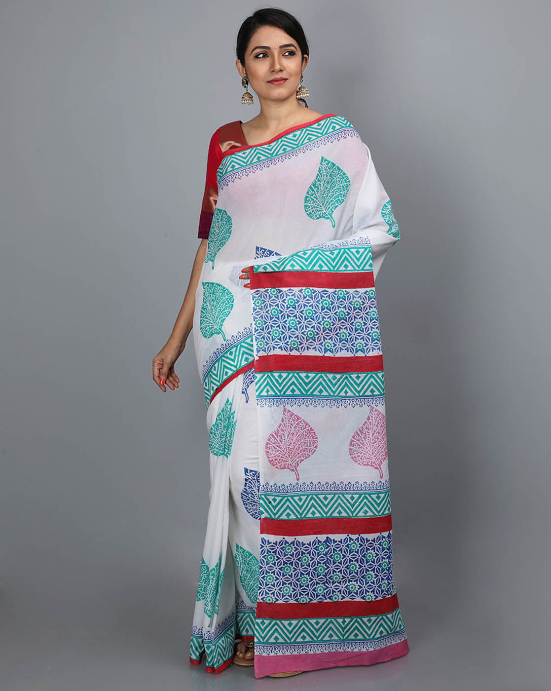 Mul Cotton Saree with Block Print  - 18