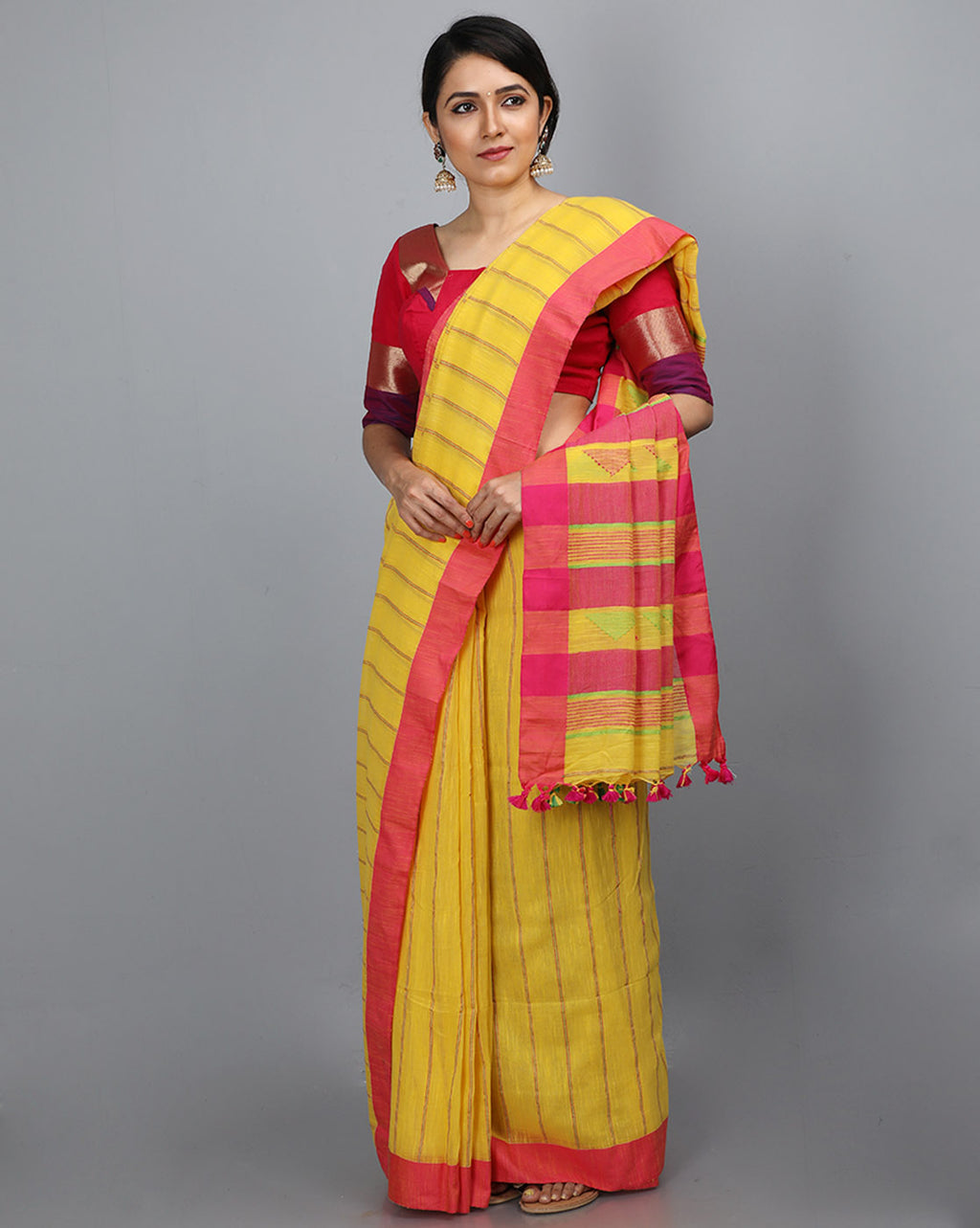 Phulia Cotton with Vertical Stripes Thread Embroidery - Yellow
