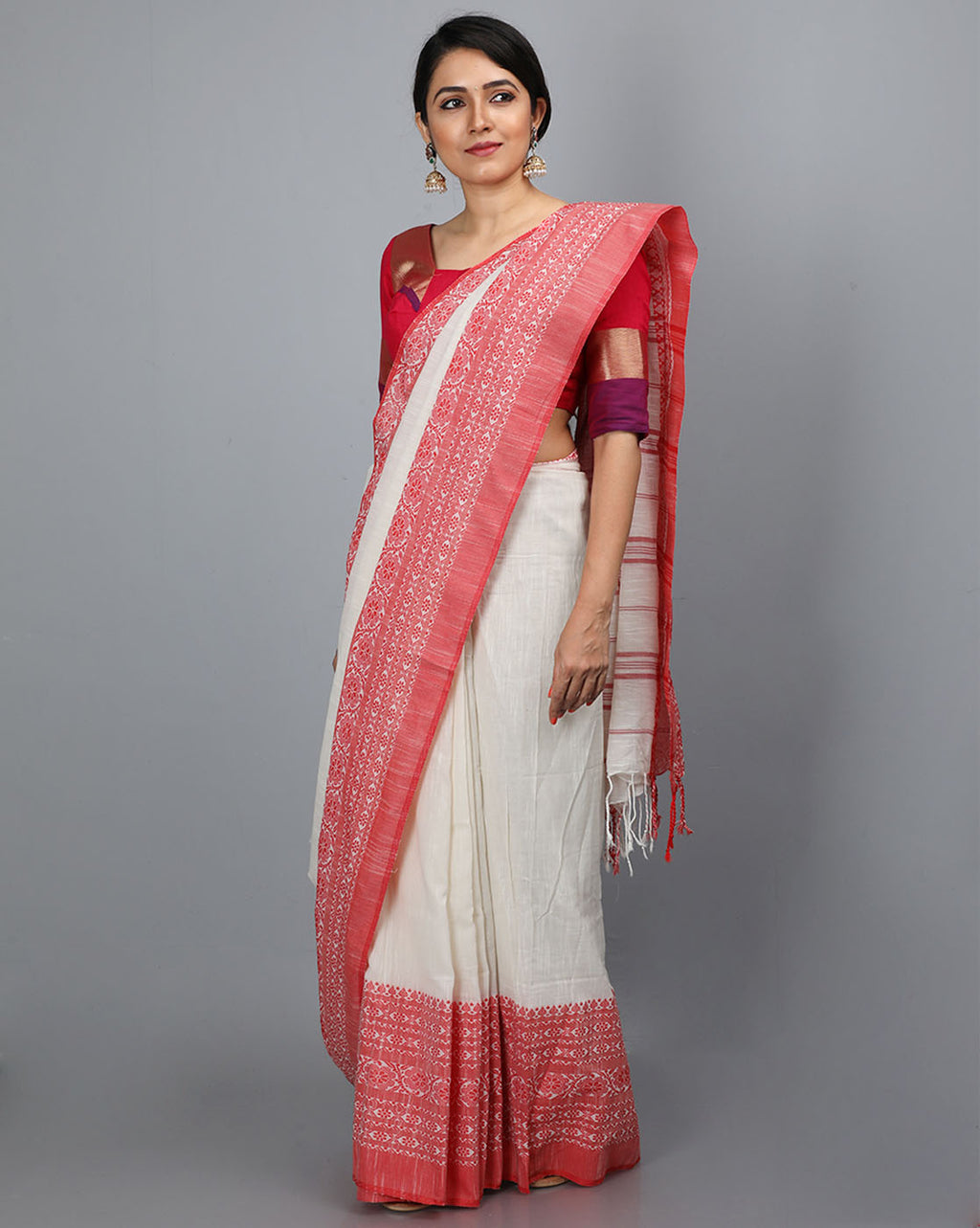 Phulia Cotton Saree with Thick and Thin Floral Borders - Offwhite/Red