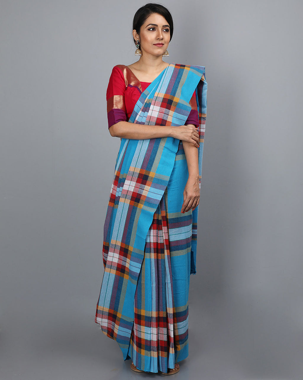 Bihar Gamcha Cotton Saree - Blue 8 line checks