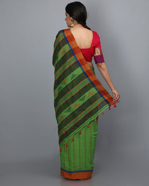 Phulia Cotton with Vertical Stripes Thread embroidery - Green