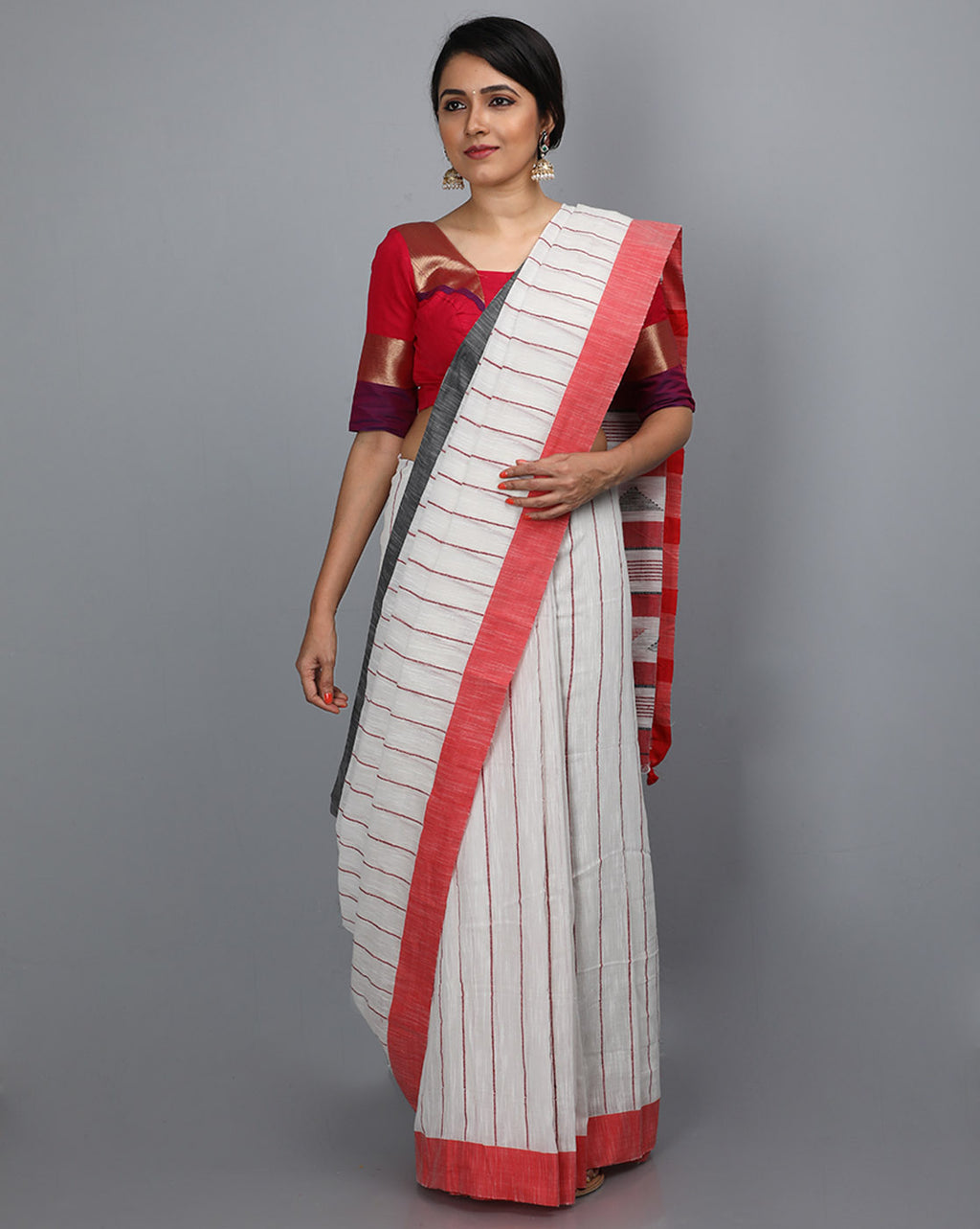 Phulia Cotton with Vertical Stripes Thread Embroidery - White