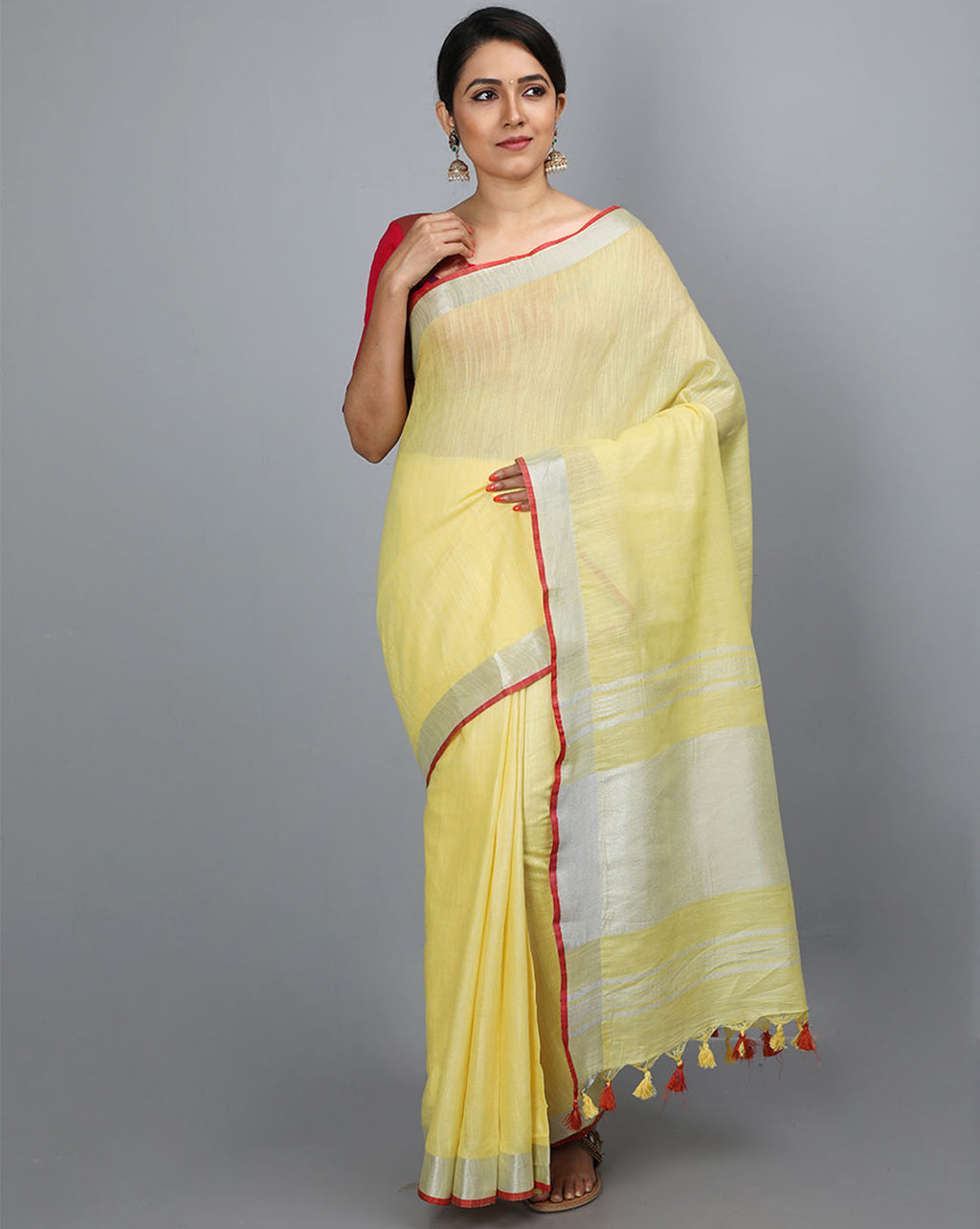 Bhagalpur Slub Plain Saree - Lemon Yellow
