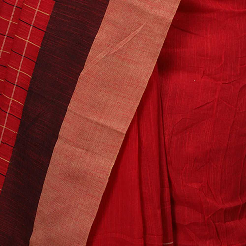 Phulia Cotton with Embroidered Boxes and Butis - Red