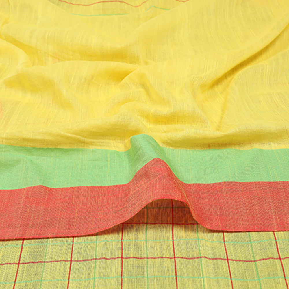Phulia Cotton with Embroidered Boxes and Butis - Yellow
