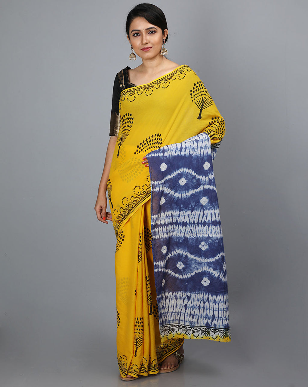 Mul Cotton Saree with Block Print and Shibori Pallu - 12