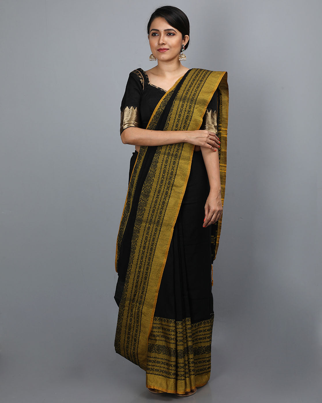 Phulia Cotton Saree with Thick and Thin Floral Border - Black/Mustard