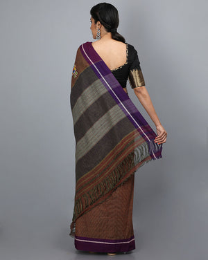 Patteda Anchu with Lotus Patch on Pallu - Brown