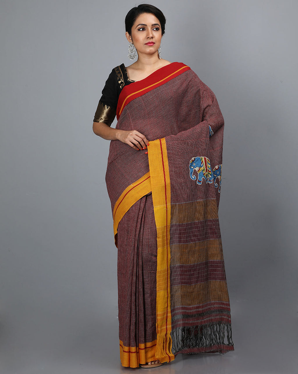 Patteda Anchu Saree with Elephant Pallu Patch - Maroon
