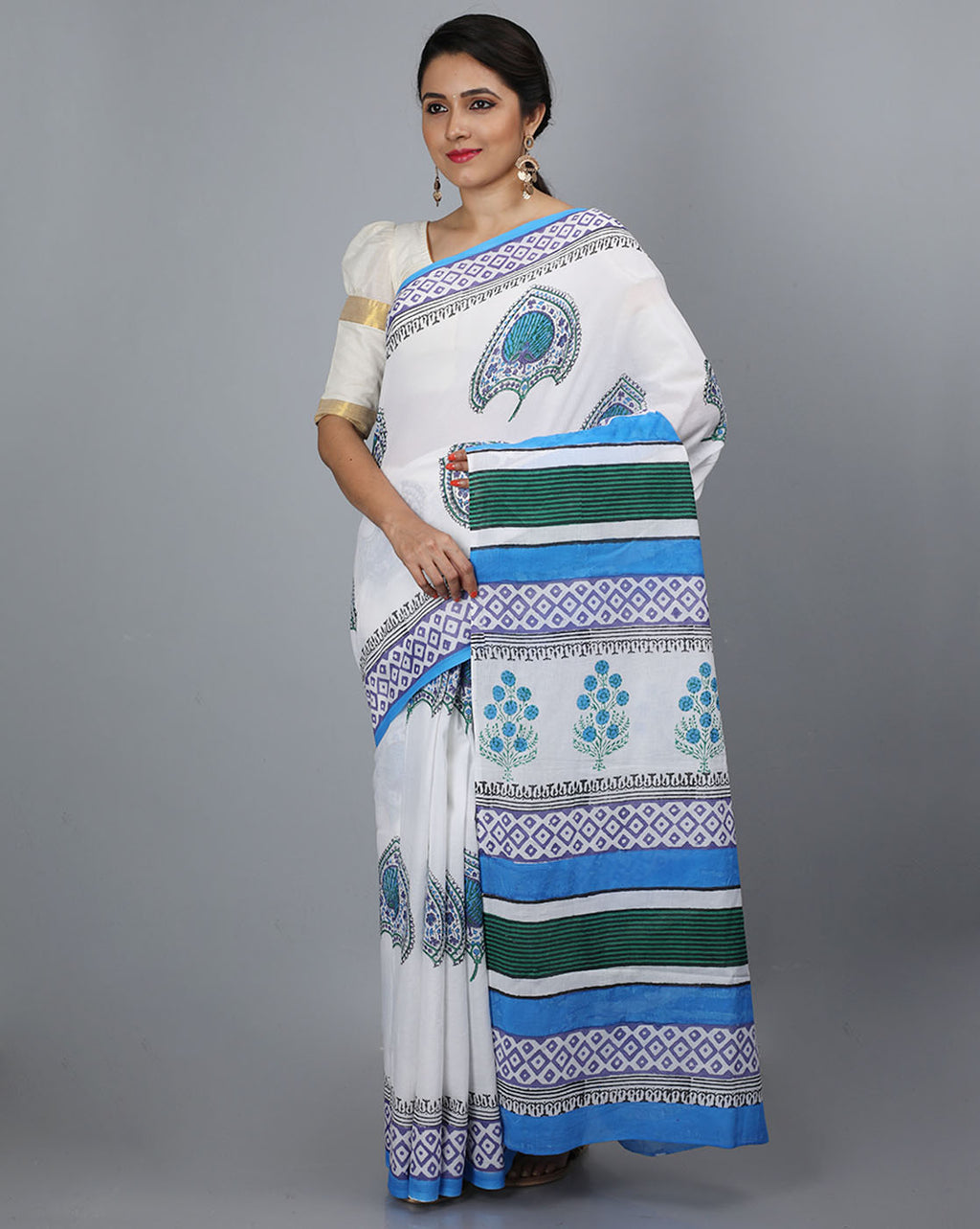 Mul Cotton Saree with Block Print - 08