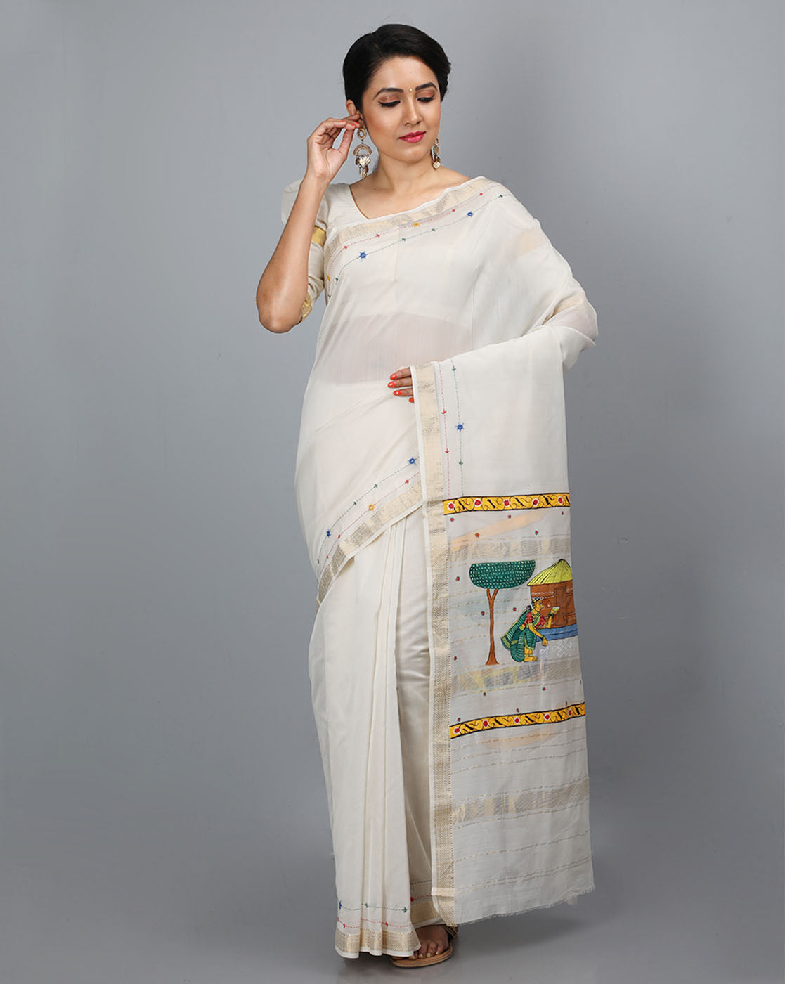 Maheshwari Silk Cotton Saree with Handpainted Cheriyal Pallu - Sitting Women Motif