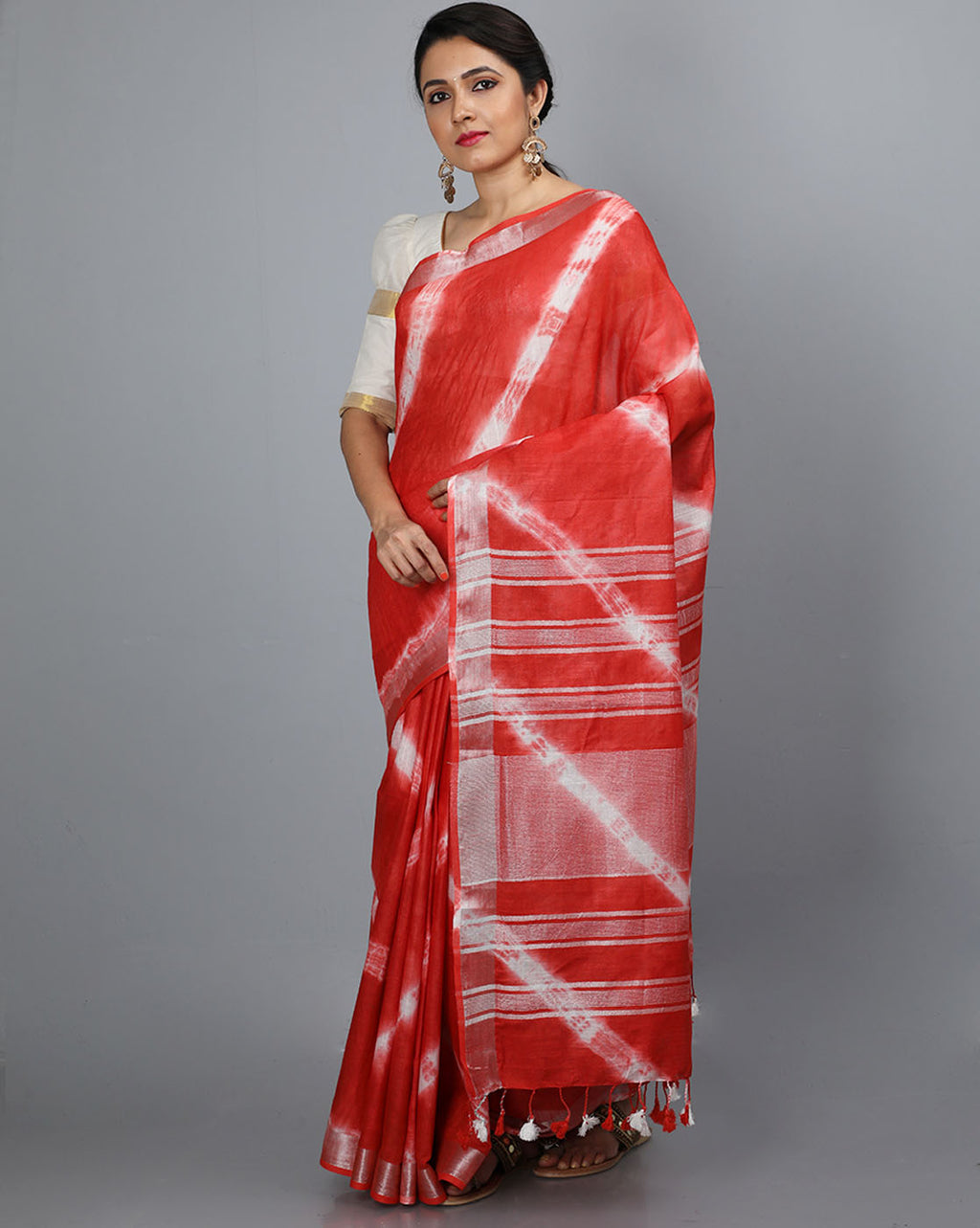 Bhagalpur Slub Shibori Saree - Red