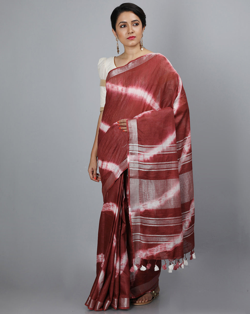 Bhagalpur Slub Shibori Saree - Brown
