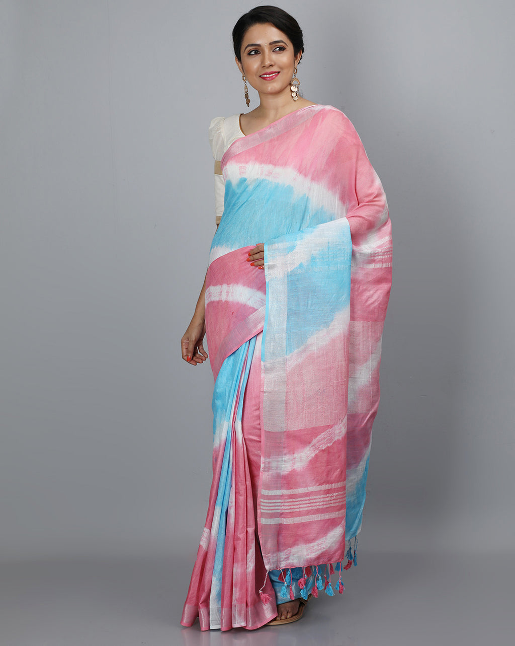 Bhagalpur Slub Shibori Saree - Pink and Blue