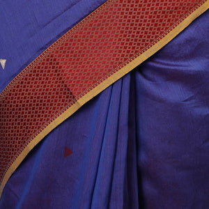 Liva Maheshwari Saree with Satin Thread Border - Violet