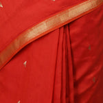 Liva Maheshwari Saree with Zari - Rust