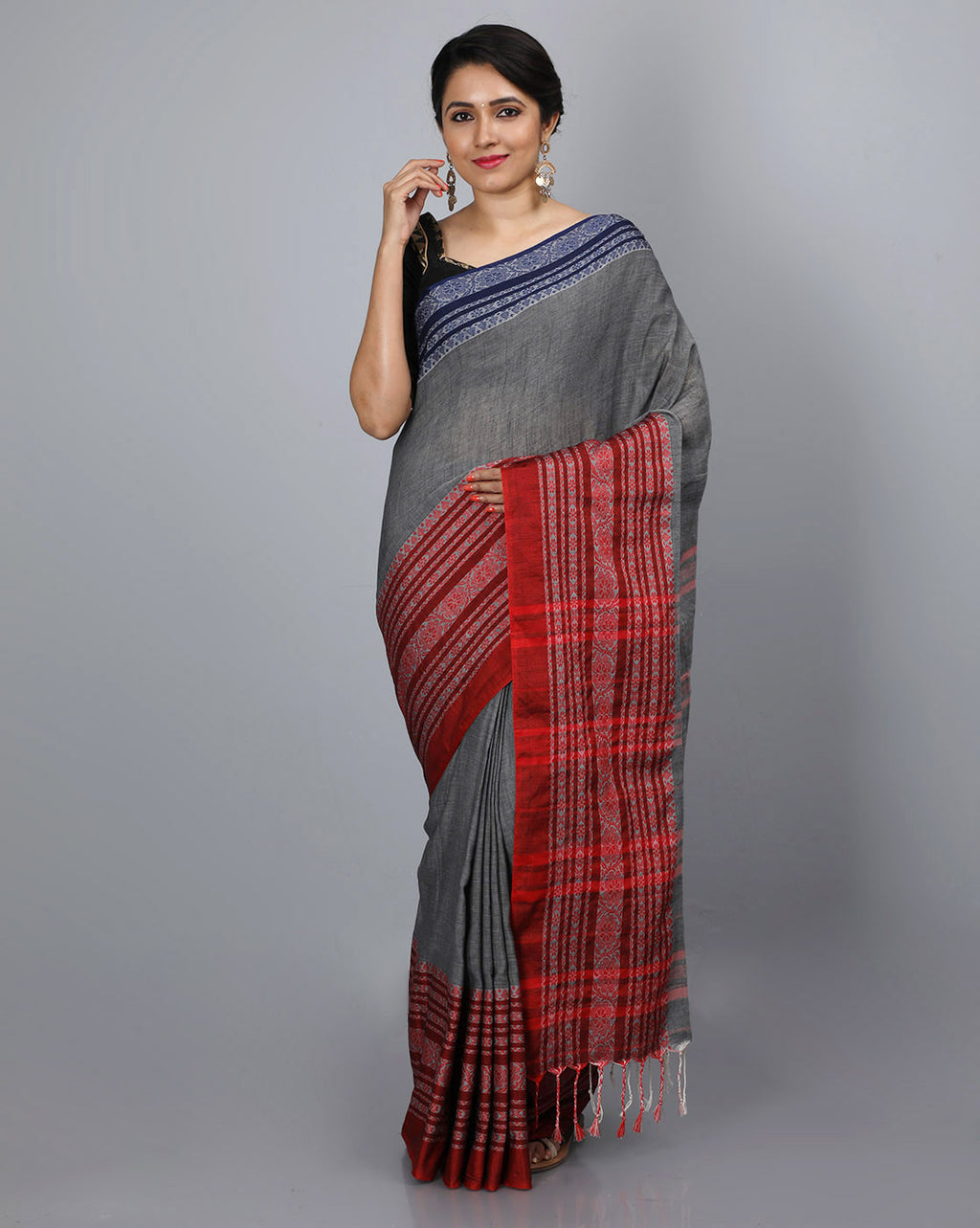 Phulia Cotton Saree with Thick and Thin Floral Border - Charcoal Grey/Red & Blue