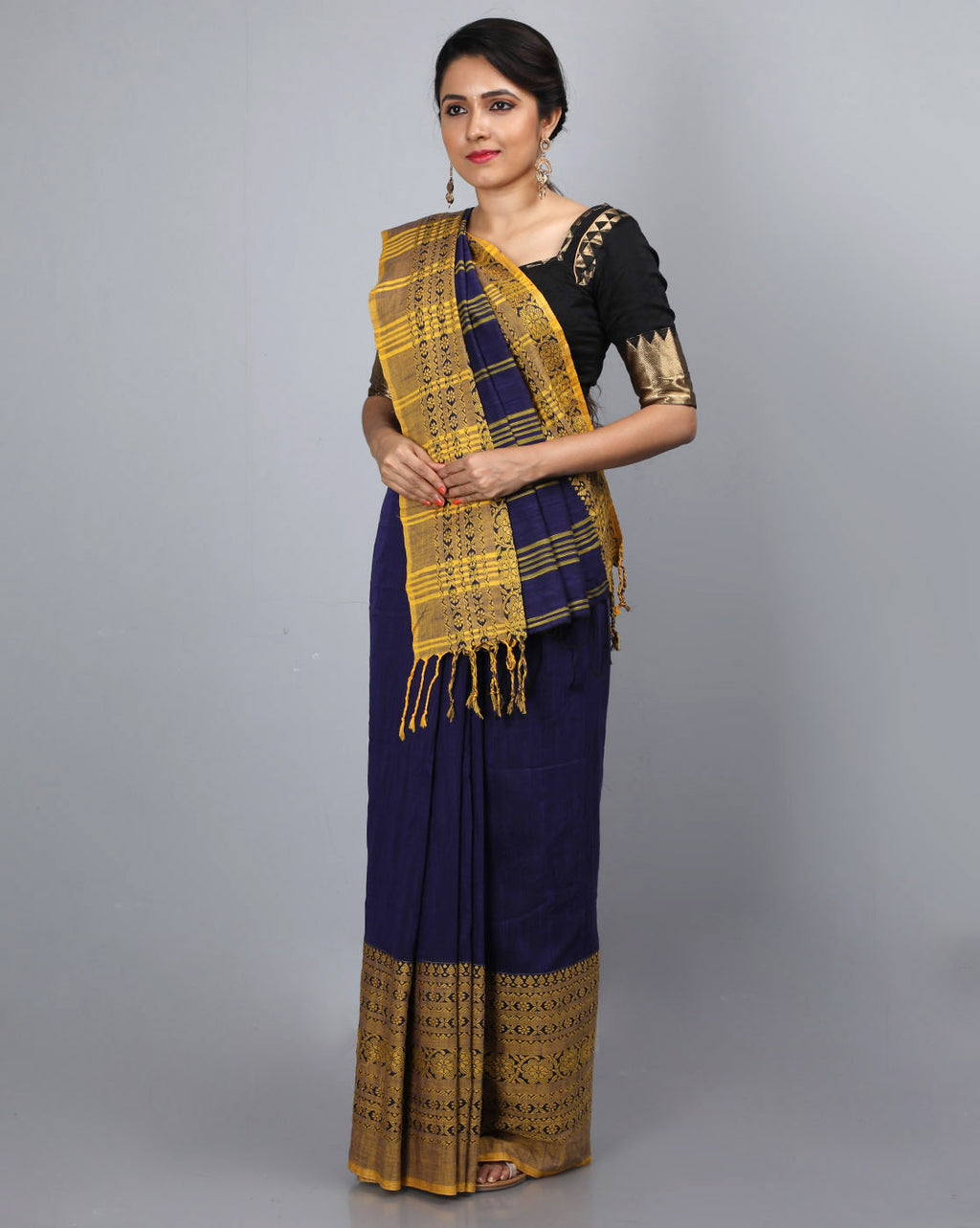 Phulia Cotton Saree with Thick and Thin Floral Border - Navy Blue/Yellow