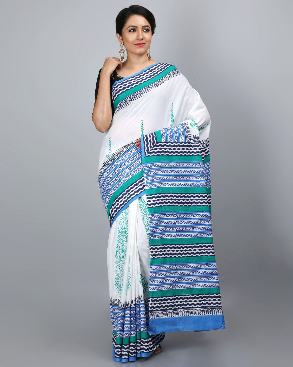 Mul Cotton Saree with Block Print - 14