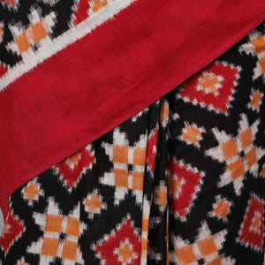 Telia Motif- Double Ikat (Cotton) - Black, Red and Orange Diamond Motif