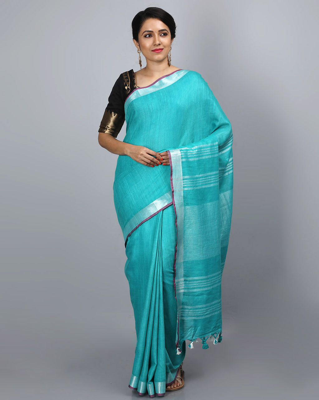 Bhagalpur Slub Plain Saree - Sea green