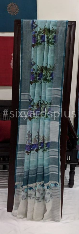 Pure Linen Digital Floral Saree - Light Blue with Grey Border