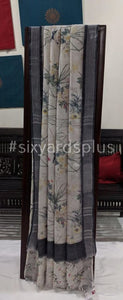 Pure Linen Digital Floral Saree - Offwhite with Silver Border