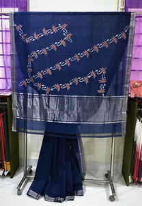 Mangalagiri Cotton Hand Block Printed Saree (Navy Blue) with Copper Lotus Motif