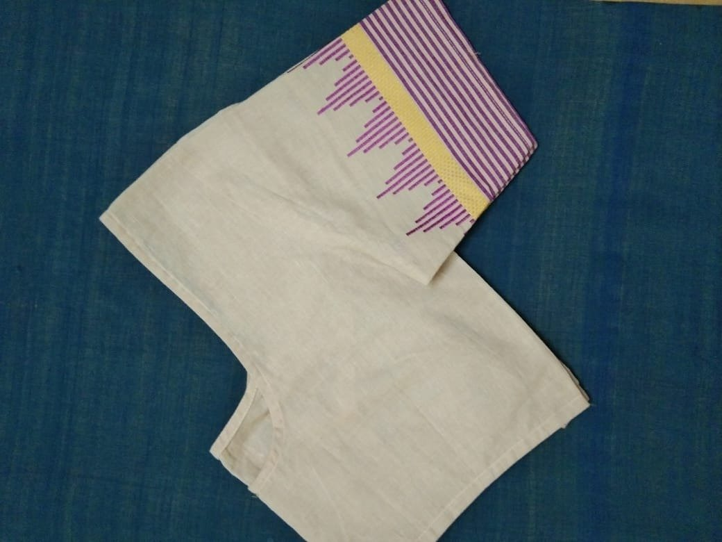 Blouse - Hand loom - Cotton - Beige