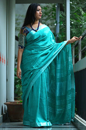Bhagalpur Slub Cotton Saree- Turquoise