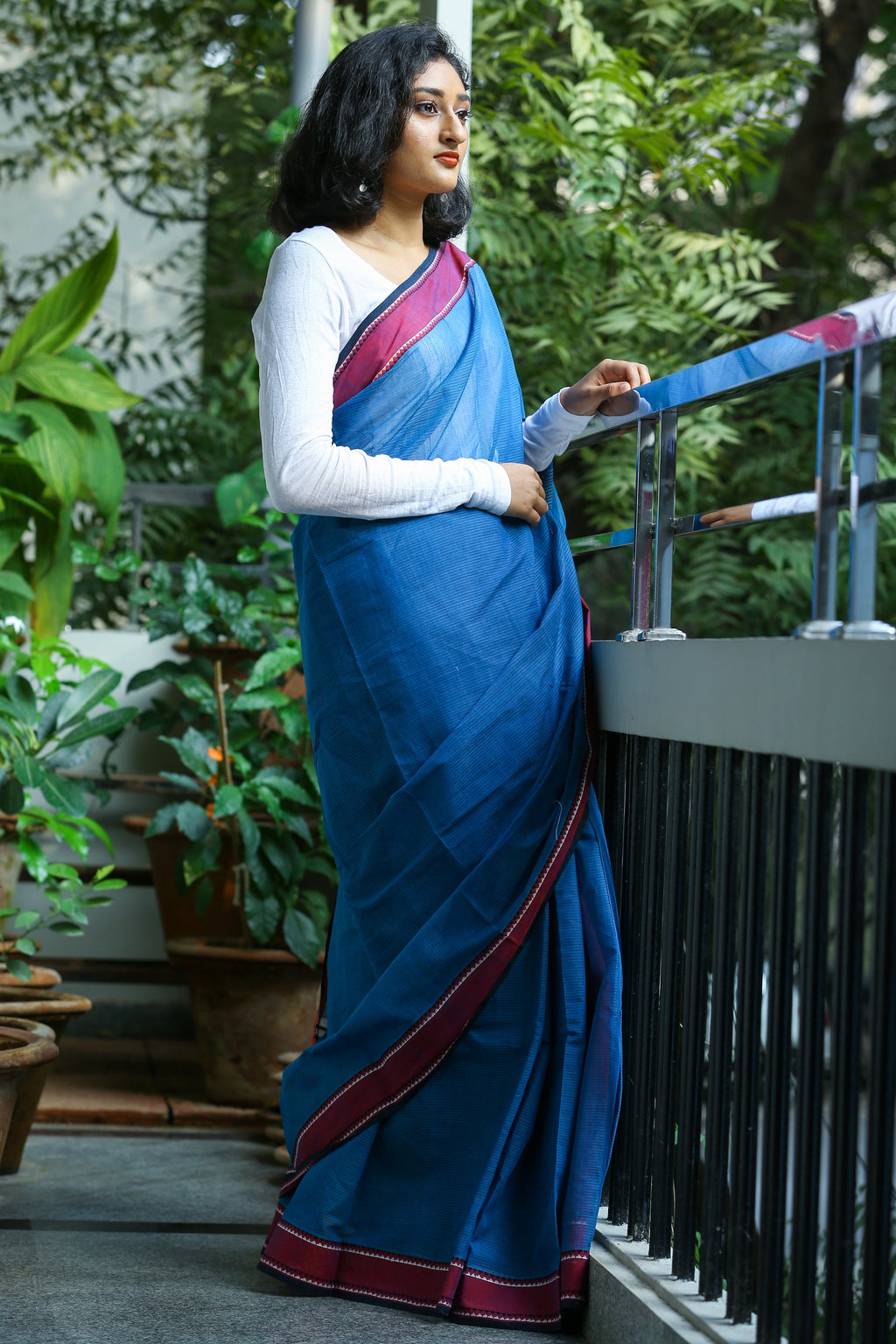 Godavari Cotton Saree- Woven Border- Blue