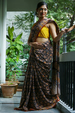 Pedana Kalamkari- Hand Block Printed- Mul Cotton Saree
