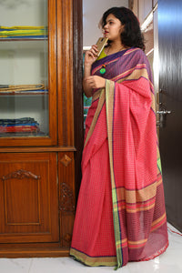 Bihar Gamcha Cotton Saree - Pink and Blue Checks