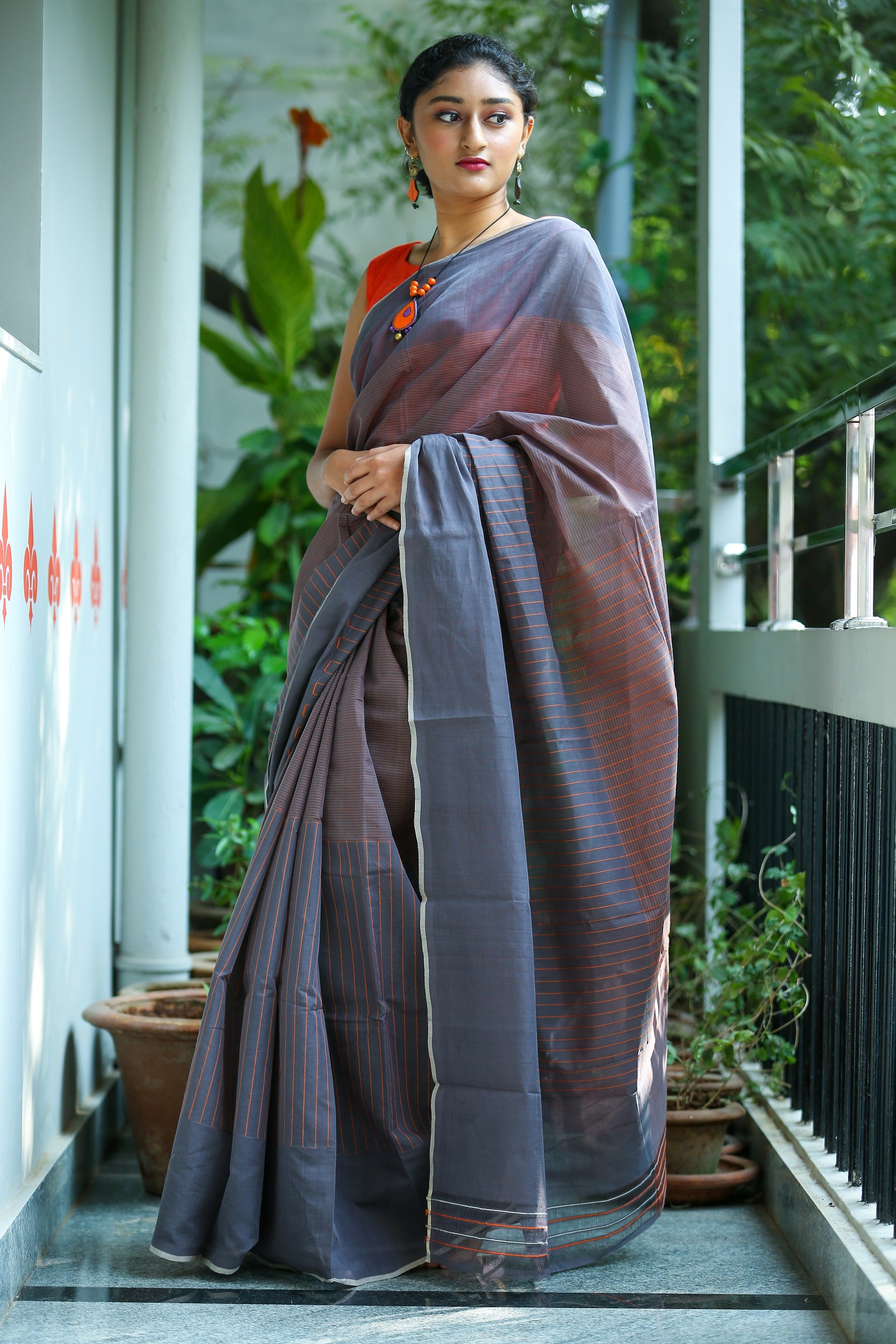Godavari Cotton- Thread Borders- Grey & Orange