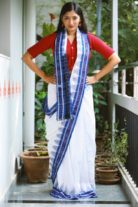 Nuapatna Cotton Ikkat Saree - White with Blue Border