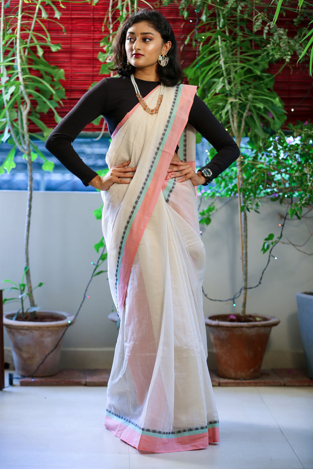 Godavari Cotton Saree- Woven Border- Off White